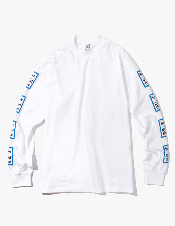 have a good time Blue Arm Frame L/S Tee - White | HEIGHTS. | International Store