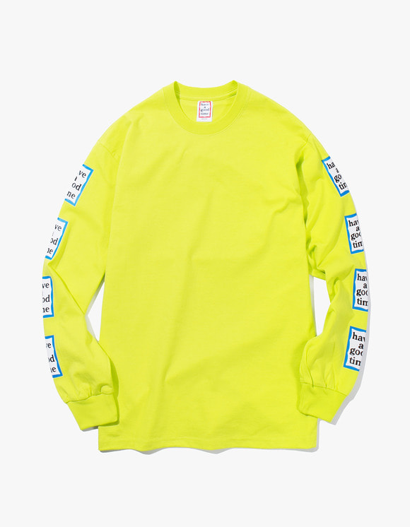 have a good time Arm Blue Frame L/S Tee - Lime | HEIGHTS. | International Store