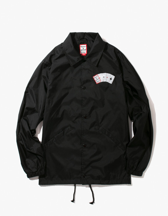 have a good time Playing Card Coach Jacket - Black | HEIGHTS. | International Store