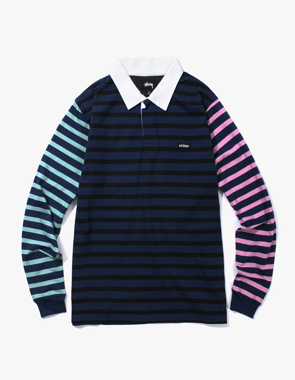 Stussy Jonah Stripe L / SL Rugby - Navy | HEIGHTS. | International Store