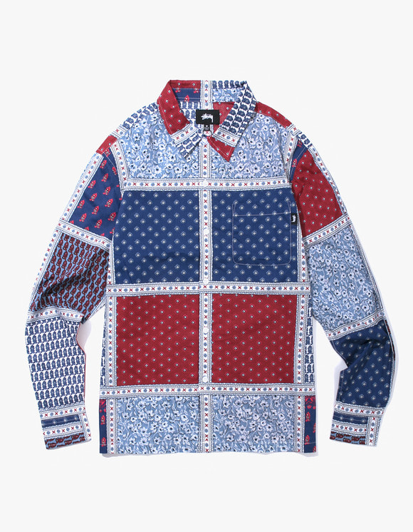 Stussy Paisley Patchwork L / SL Shirt - Blue | HEIGHTS. | International Store