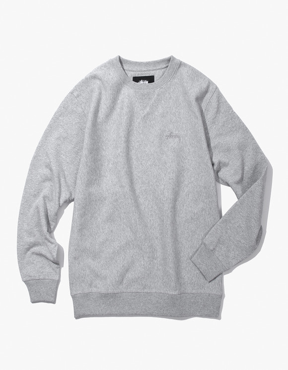 Stussy Stock L / SL Terry Crew - Heather Grey | HEIGHTS. | International Store