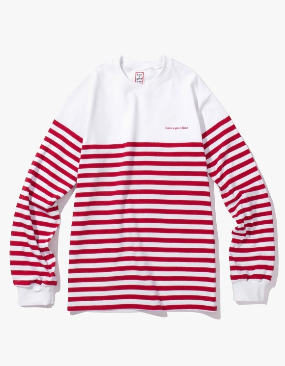 have a good time Stripe L/S Tee - White/Red | HEIGHTS. | International Store