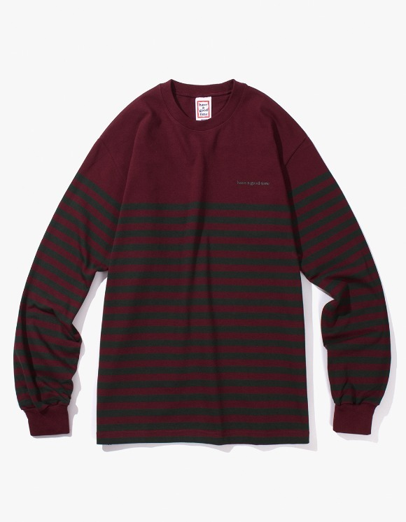 have a good time Stripe L/S Tee - Wine/Dark Green | HEIGHTS. | International Store