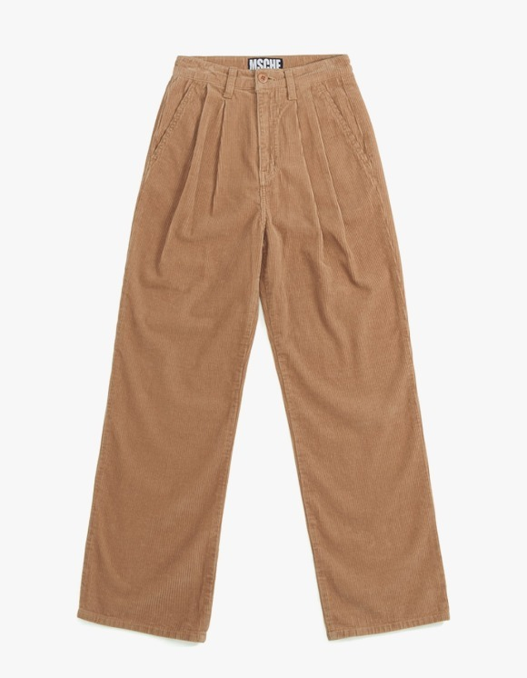MISCHIEF Double Pleat Corduroy Trousers - Beige | HEIGHTS. | International Store