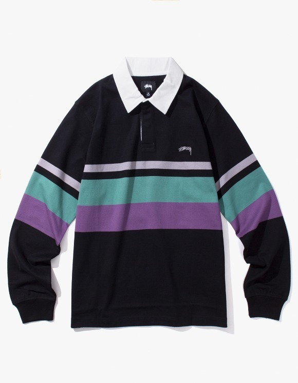 Stussy Lucas Stripe L/SL Rugby - Black | HEIGHTS. | International Store