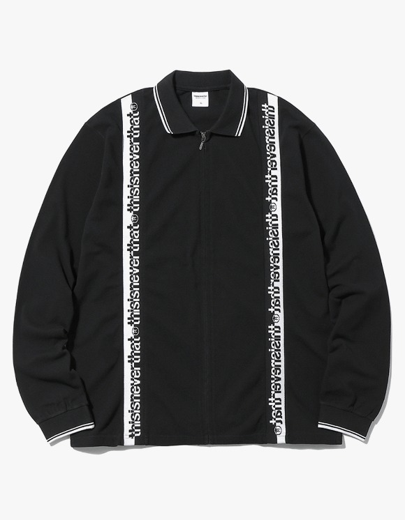 thisisneverthat Zipup L/SL Polo - Black | HEIGHTS. | International Store