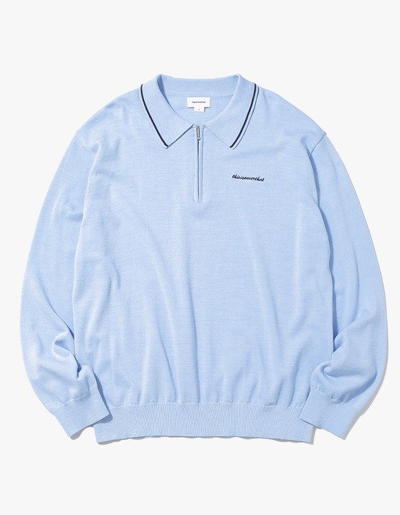 thisisneverthat SCRT ZIP Knit Polo - Sky Blue | HEIGHTS. | International Store