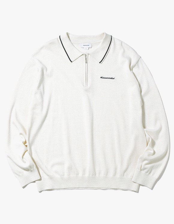 thisisneverthat SCRT ZIP Knit Polo - Ivory | HEIGHTS. | International Store