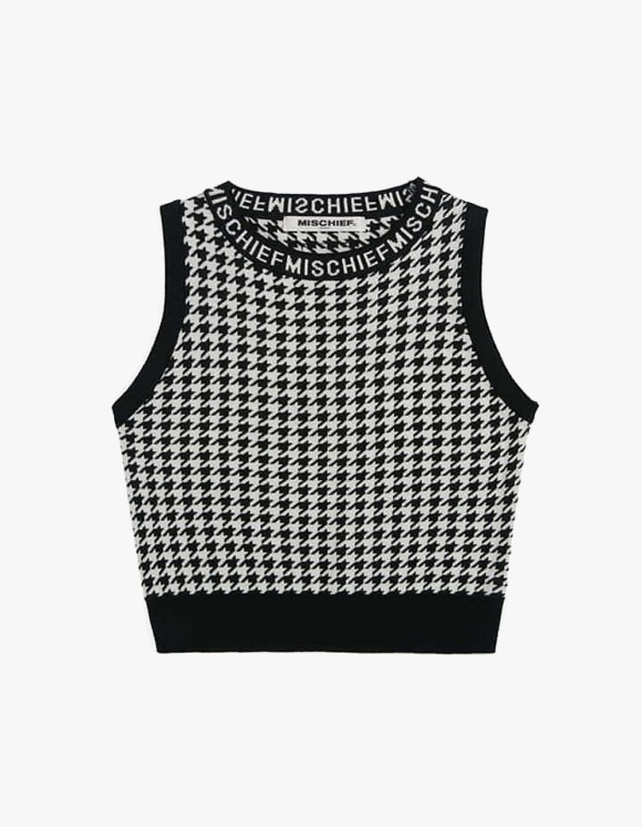 MISCHIEF Houndstooth Knitted Top - Black/White | HEIGHTS. | International Store