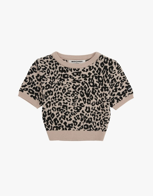 MISCHIEF [3월 28일 예약배송]Cropped Leopard Knit - Beige/Black | HEIGHTS. | International Store