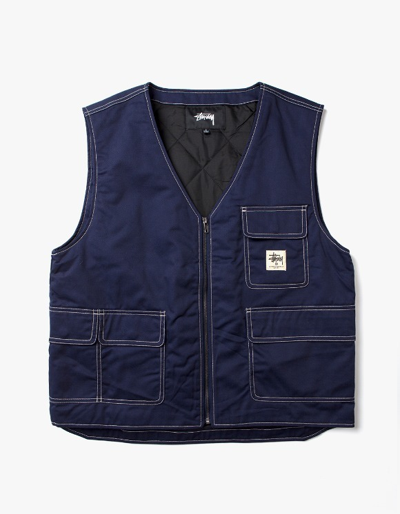 Stussy Poly Cotton Work Vest - Navy | HEIGHTS. | International Store