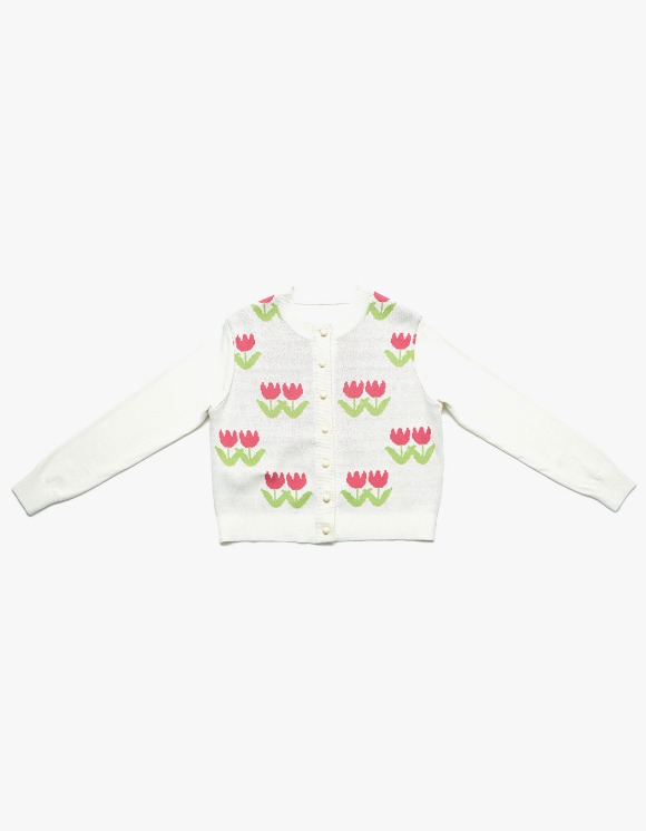 Margarin Fingers Tulip Knit Cardigan - Cream | HEIGHTS. | International Store