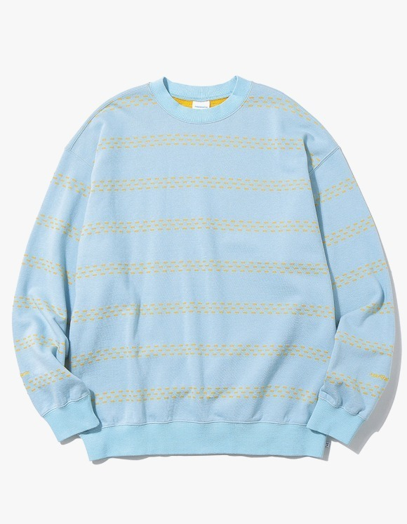 thisisneverthat Brick Striped Crewneck - Sky Blue | HEIGHTS. | International Store