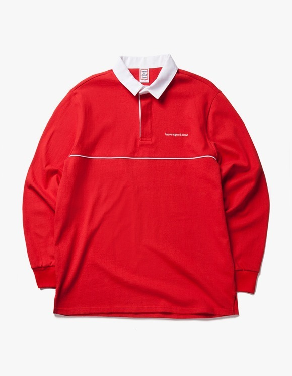 have a good time Piping Rugby L/S shirt - Red | HEIGHTS. | International Store