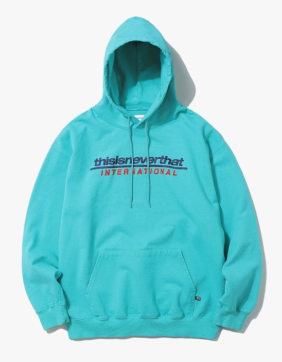 thisisneverthat SP-INTL. Logo Hooded Sweatshirt - Blue Green | HEIGHTS. | International Store