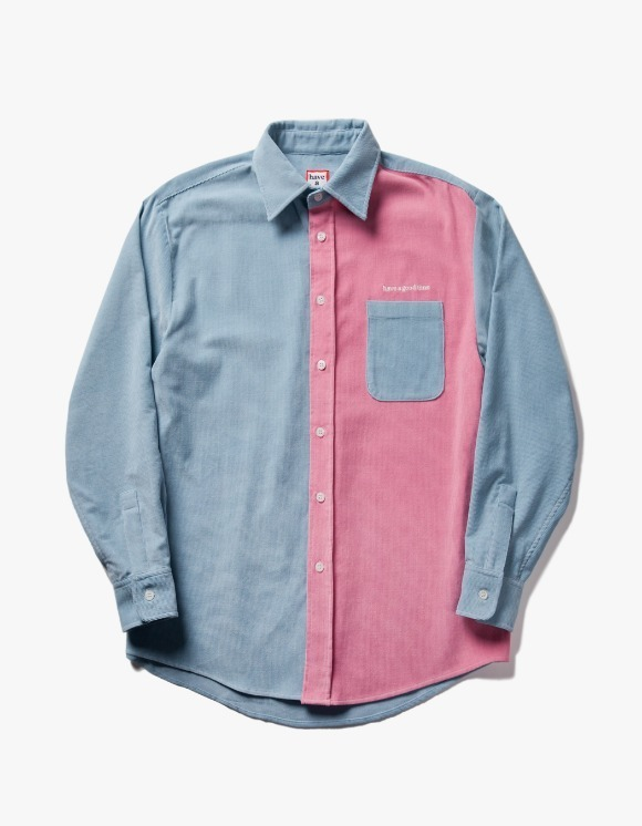 have a good time Corduroy Work L/S Shirt - Light Blue/Baby Pink | HEIGHTS. | International Store