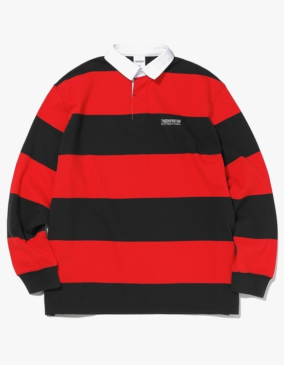thisisneverthat Striped Rugby Shirt - Black/Red | HEIGHTS. | International Store