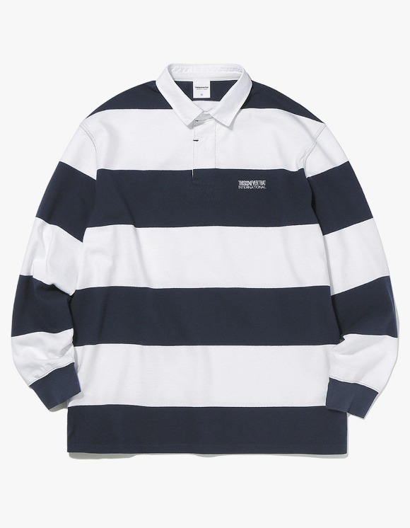 thisisneverthat Striped Rugby Shirt - Navy/White | HEIGHTS. | International Store