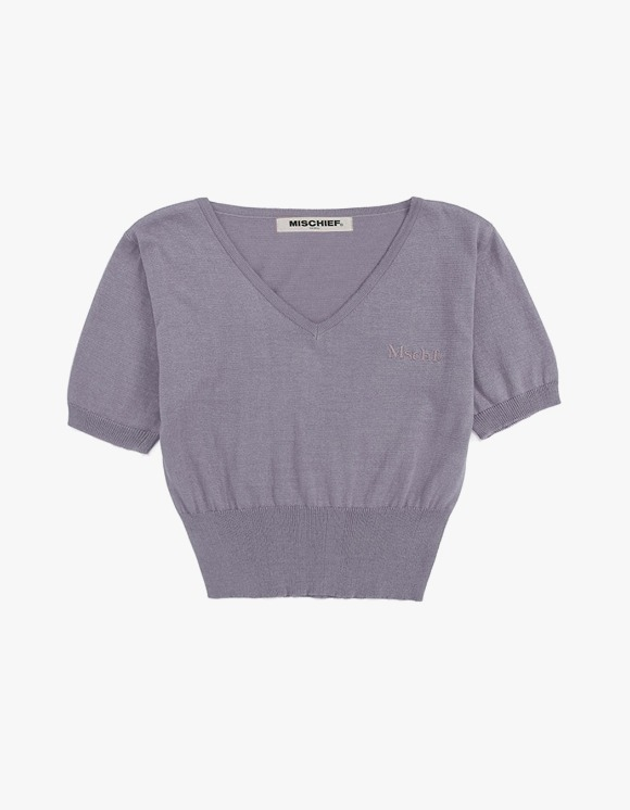 MISCHIEF [21 Mar, 2019 pre-oder]Cropped V-Neck Knit - Lilac | HEIGHTS. | International Store