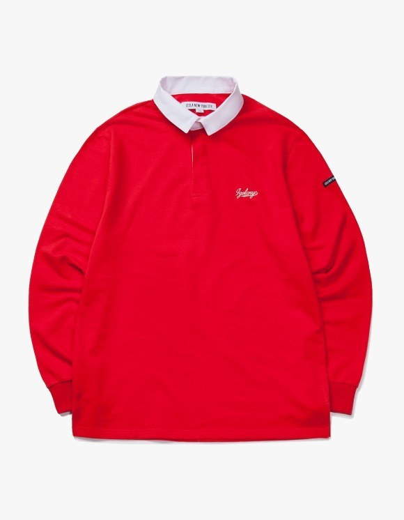 IZOLA NYC Varsity L/S Rugby Tee - Red | HEIGHTS. | International Store