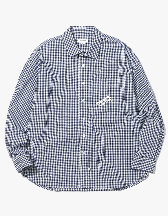 thisisneverthat DIA-Logo Gingham Check Shirt - Navy | HEIGHTS. | International Store
