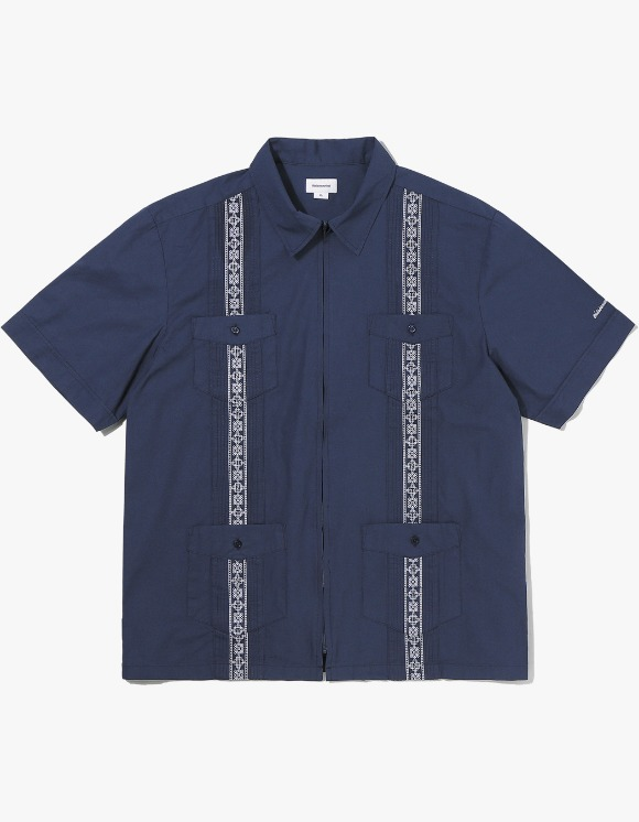 thisisneverthat TINT Pin Tuck Zip Up Shirt - Navy | HEIGHTS. | International Store