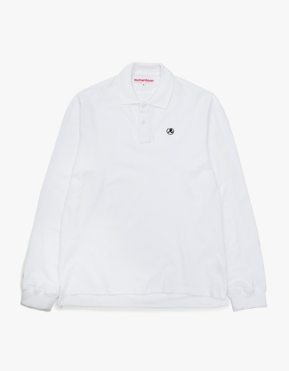 Richardson Engineered Glyph Polo Longsleeve - White | HEIGHTS. | International Store