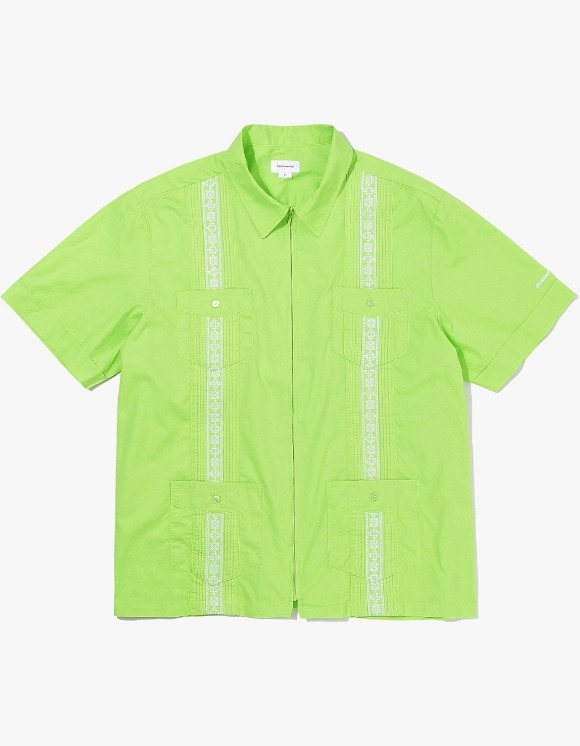 thisisneverthat TINT Pin Tuck Zip Up Shirt - Lime Green | HEIGHTS. | International Store