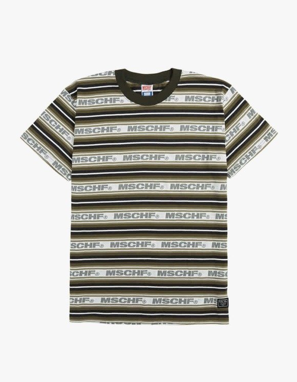 MISCHIEF Striped Logo tee - Charcoal Multi | HEIGHTS. | International Store