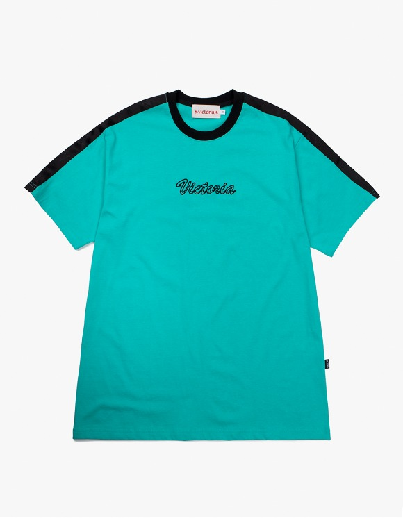 Victoria Hong Kong Cursive Ringer S/S Tee - Aqua | HEIGHTS. | International Store