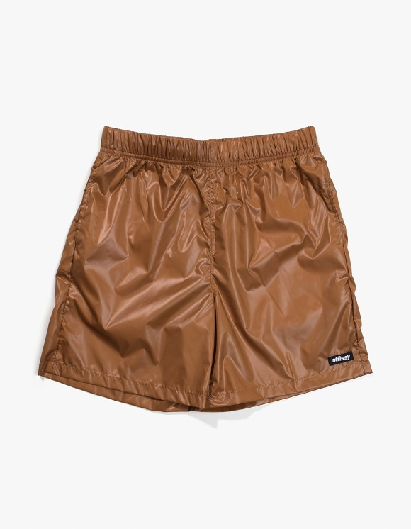 Stussy Langley Shiny Baggy Shorts - Tan | HEIGHTS. | International Store