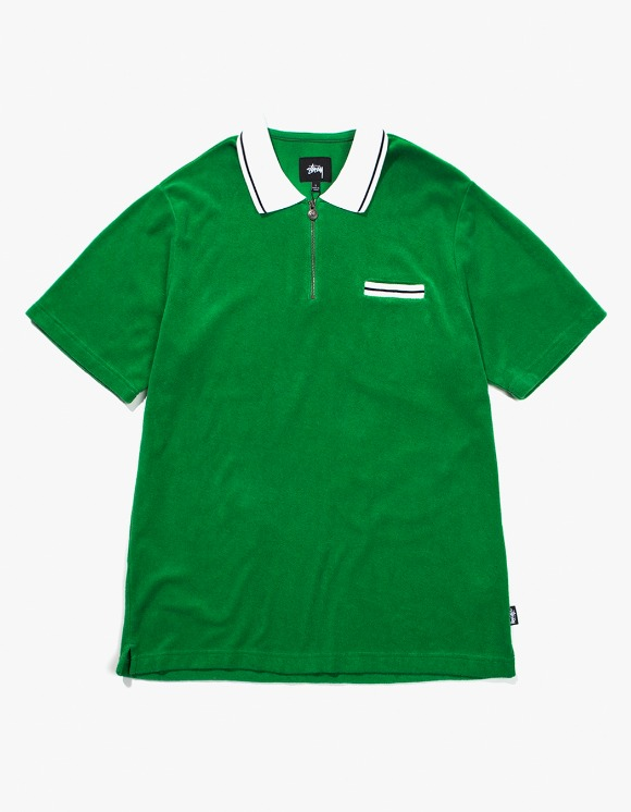Stussy Terry Lion Zip Polo - Green | HEIGHTS. | International Store