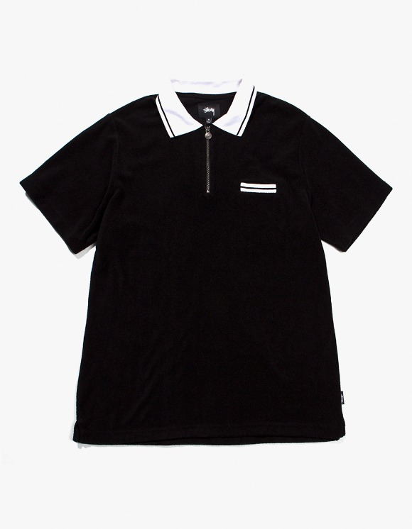 Stussy Terry Lion Zip Polo - Black | HEIGHTS. | International Store