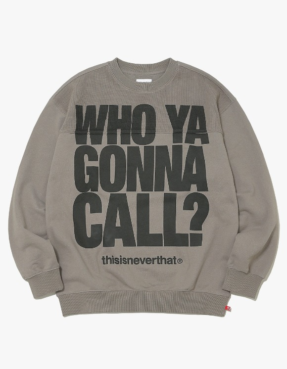 thisisneverthat WHO YA Crewneck - Warm Grey | HEIGHTS. | International Store