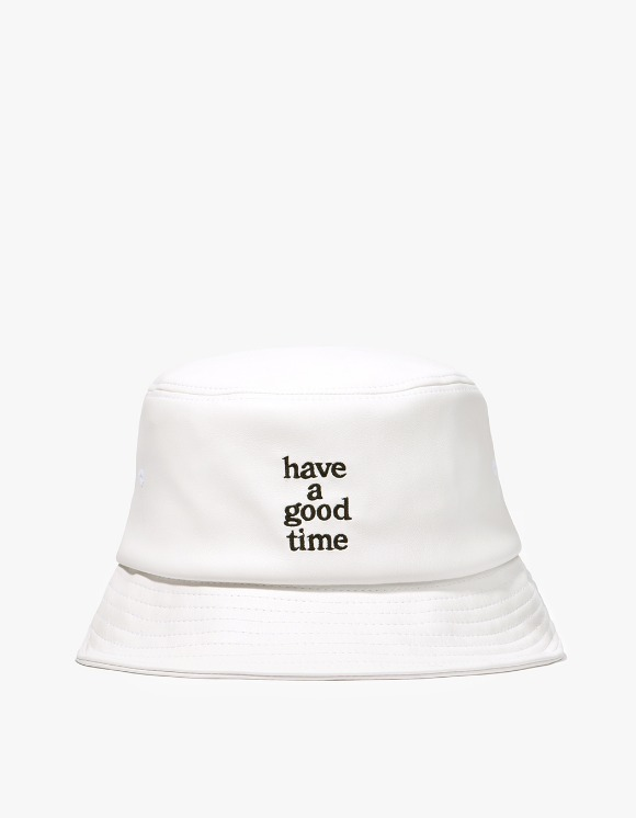 have a good time Logo Faux Bucket Hat - White | HEIGHTS. | International Store