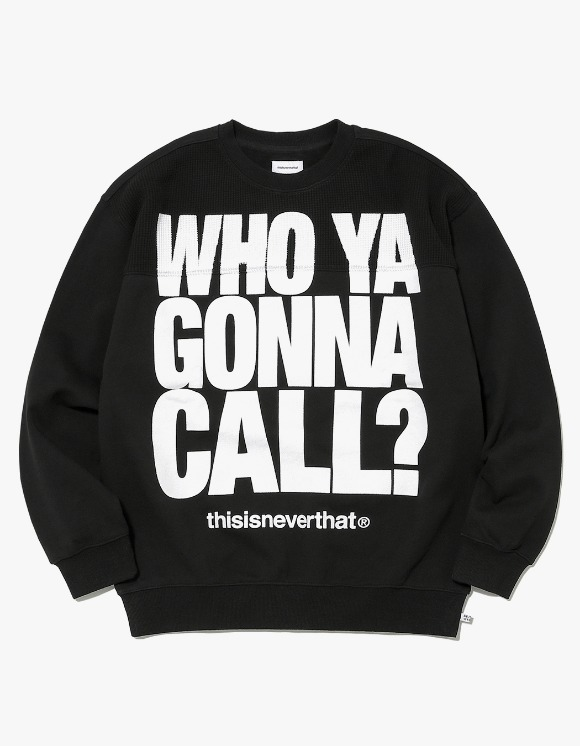 thisisneverthat WHO YA Crewneck - Black | HEIGHTS. | International Store