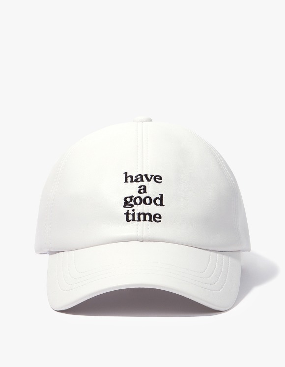 have a good time Logo Faux Leather Cap - White | HEIGHTS. | International Store