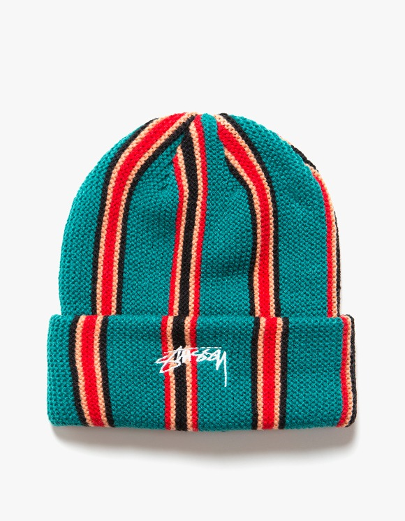 Stussy Vertical Stripe Cuff Beanie - Teal | HEIGHTS. | International Store