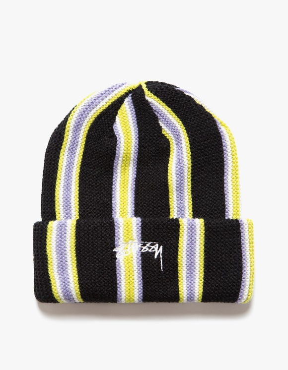 Stussy Vertical Stripe Cuff Beanie - Black | HEIGHTS. | International Store