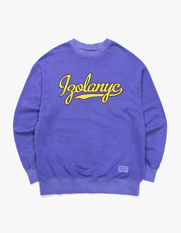 IZOLA NYC Over Dyed Varsity Crewneck  - Purple | HEIGHTS. | International Store
