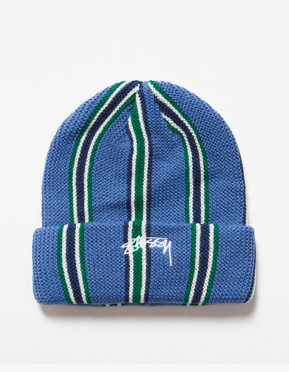 Stussy Vertical Stripe Cuff Beanie - Blue | HEIGHTS. | International Store