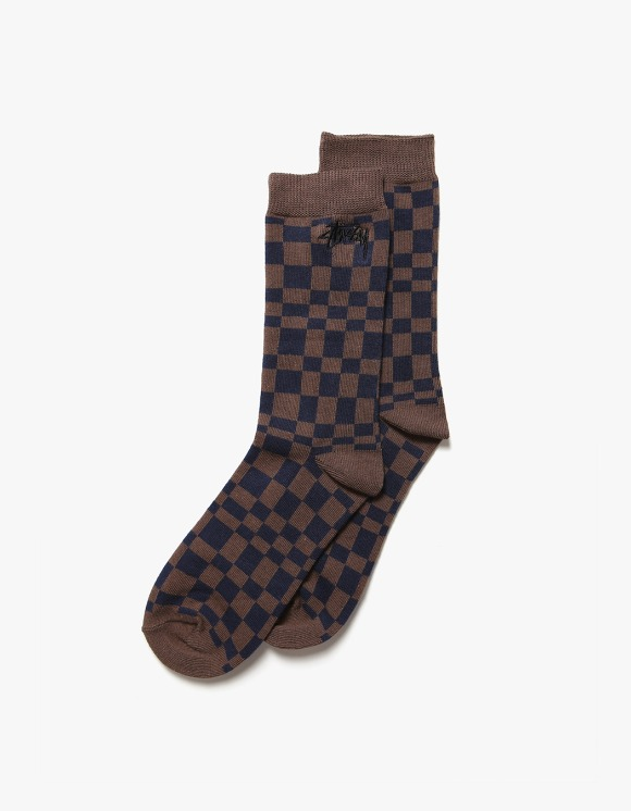 Stussy Sabi Checker Jacquard Socks - Blue/Red | HEIGHTS. | International Store