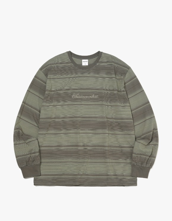 thisisneverthat Script Striped L/SL Top - Olive | HEIGHTS. | International Store