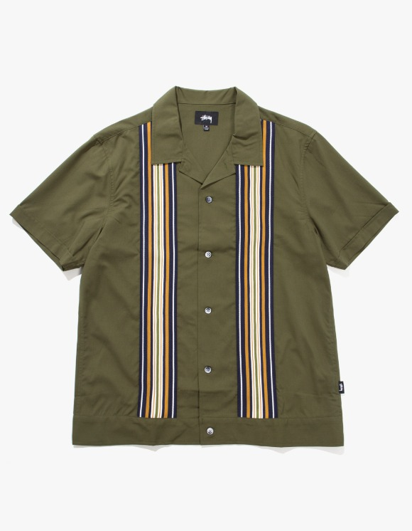 Stussy Stripe Knit Panel Shirt - Olive | HEIGHTS. | International Store
