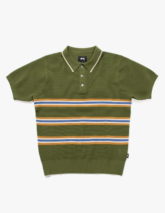 Stussy Montego Stripe S/SL Polo - Green | HEIGHTS. | International Store