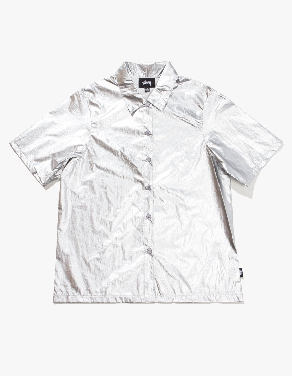 Stussy Shiny Button Down - Silver | HEIGHTS. | International Store