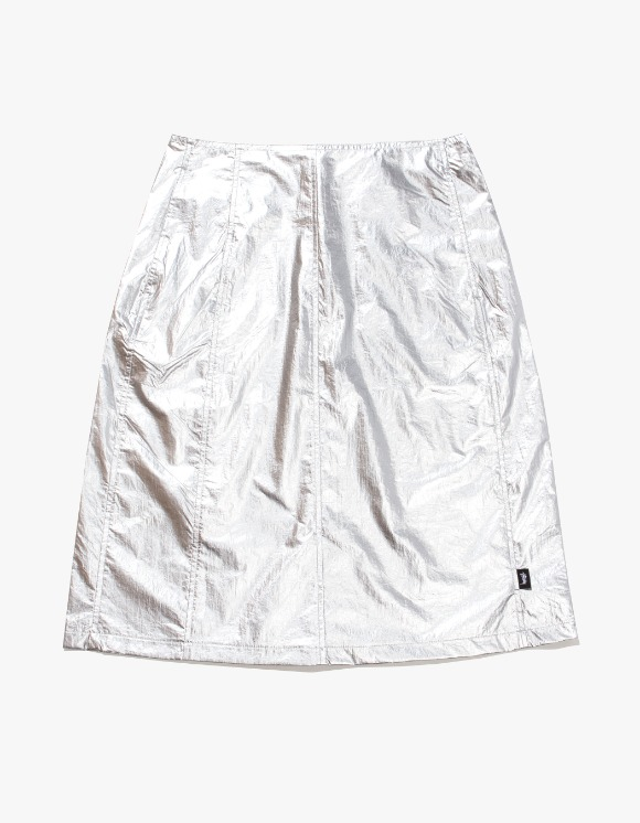 Stussy Shiny Panel Skirt - Silver | HEIGHTS. | International Store