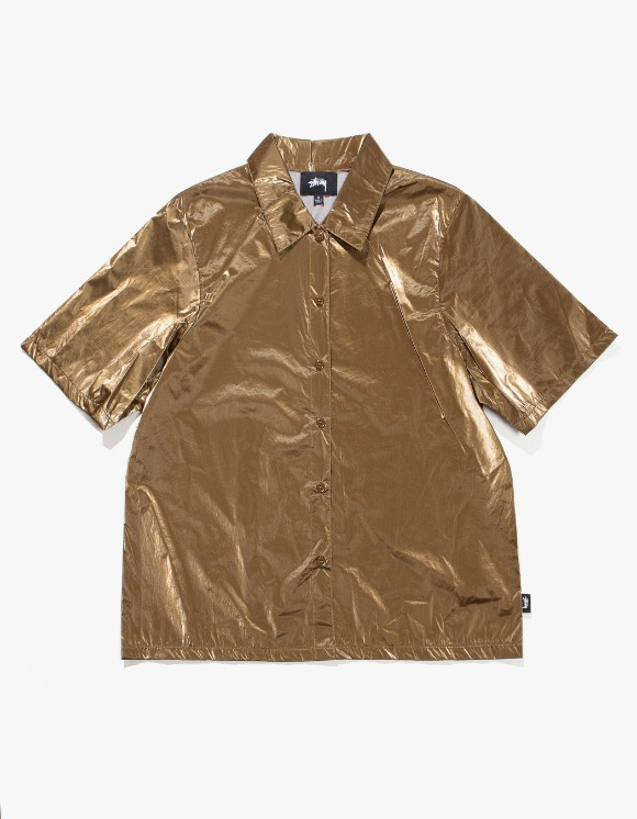 Stussy Shiny Button Down - Bronze | HEIGHTS. | International Store