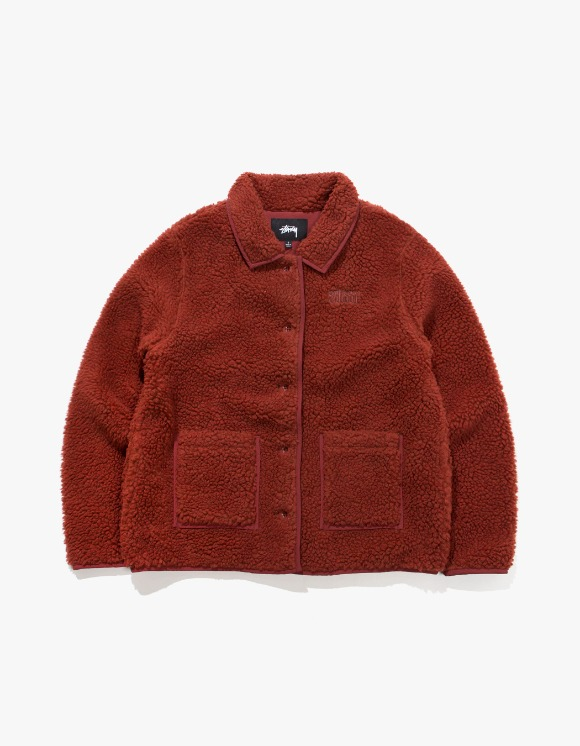 Stussy Sherpa Button Down Jacket - Clay | HEIGHTS. | International Store